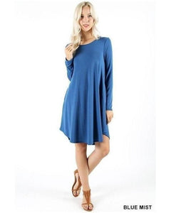 Blue Mist Long Sleeve Round Hem A-Line Dress with Pockets - Essentially Elegant