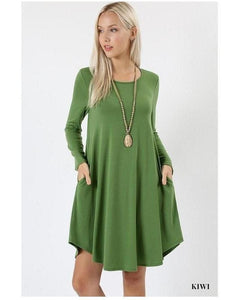 Kiwi Long Sleeve Round Hem A-Line Dress with Pockets - Essentially Elegant