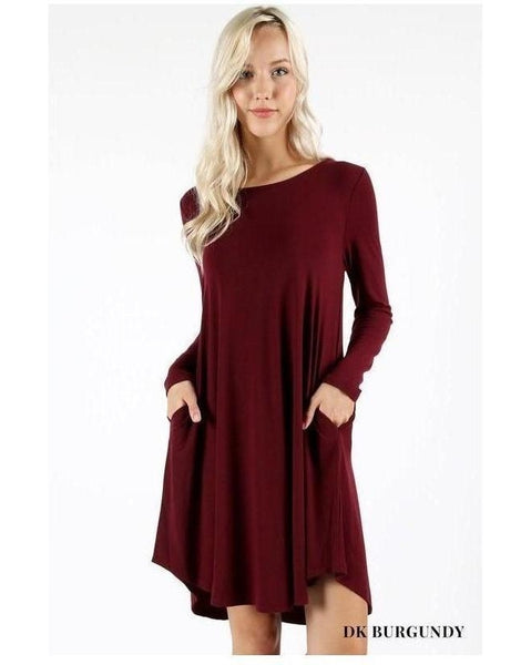 Burgundy Long Sleeve Round Hem A-Line Dress with Pockets - Essentially Elegant