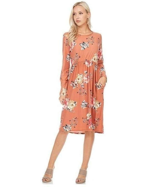 Ageless Bliss Floral Print Midi Dress with Long Sleeves and Pockets in Rust - Essentially Elegant