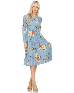 Ageless Bliss Floral Print Midi Dress with Long Sleeves and Pockets in Denim Blue - Essentially Elegant