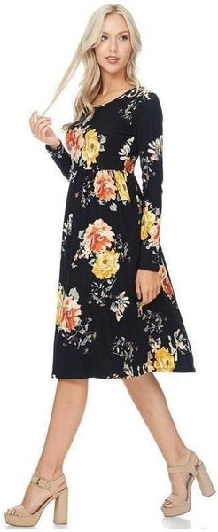 Ageless Bliss Floral Print Midi Dress with Long Sleeves and Pockets in Black - Essentially Elegant