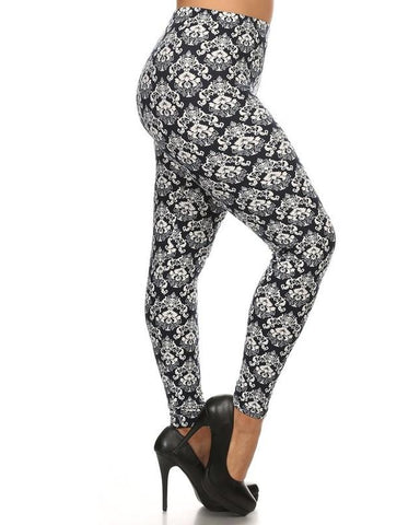 Black and White Damask Pattern Butter Soft Print Leggings - Essentially Elegant