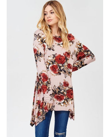 Spring Garden Floral Print Tunic Top with Sharkbite-Hem in Mauve - Essentially Elegant
