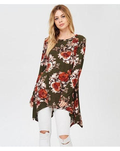 Spring Garden Floral Print Tunic Top with Sharkbite-Hem in Olive - Essentially Elegant