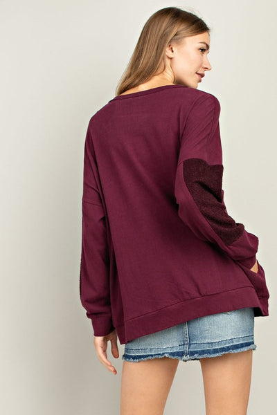 Not So Fast Knit Sweatshirt Top - Plum - Essentially Elegant
