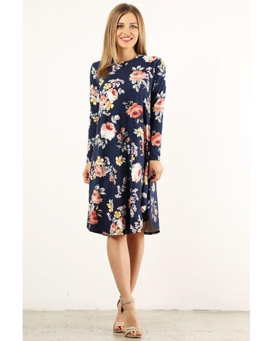 Chase Your Dreams Navy Long Sleeve Floral Print Midi Dress - Essentially Elegant