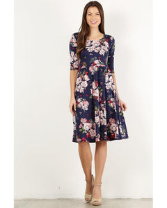 Summer Blues Navy Floral Print Midi Dress with Pockets - Essentially Elegant