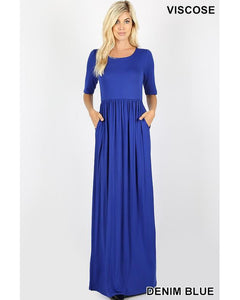 Keeping It Chic Half Sleeve Round Neck Maxi Dress with Pockets in Denim Blue - Essentially Elegant