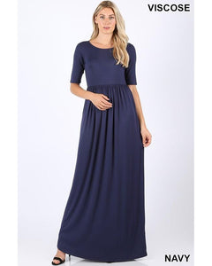Keeping It Chic Half Sleeve Round Neck Maxi Dress with Pockets in Navy - Essentially Elegant