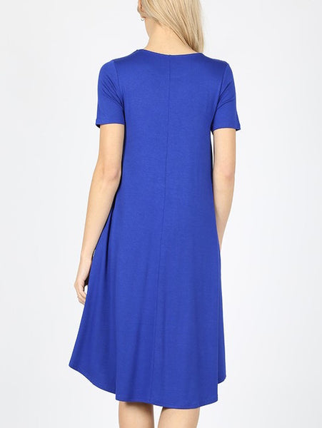 Keeping It Casual Short Sleeve Round Neck A-Line Midi Dress with Pockets in Royal Blue - Essentially Elegant
