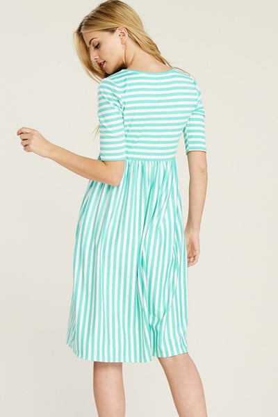 Modern Lines Mint and Ivory Striped Butter Soft Short Sleeve Midi Dress with Pockets - Essentially Elegant