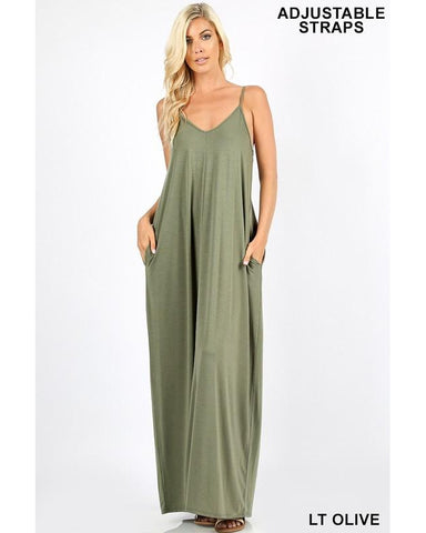 Keeping It Beachy Sleeveless V-Neck Maxi T-Shirt Dress with Pockets in Light Olive - Essentially Elegant