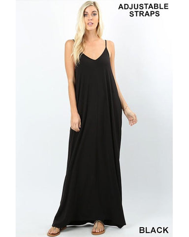 Keeping It Beachy Sleeveless V-Neck Maxi T-Shirt Dress with Pockets in Black - Essentially Elegant