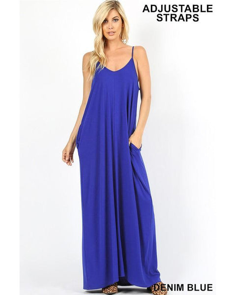 Keeping It Beachy Sleeveless V-Neck Maxi T-Shirt Dress with Pockets in Denim Blue - Essentially Elegant