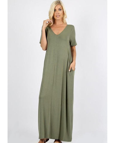 Keeping It Comfy Short Sleeve V-Neck Maxi T-Shirt Dress with Pockets in Light Olive - Essentially Elegant