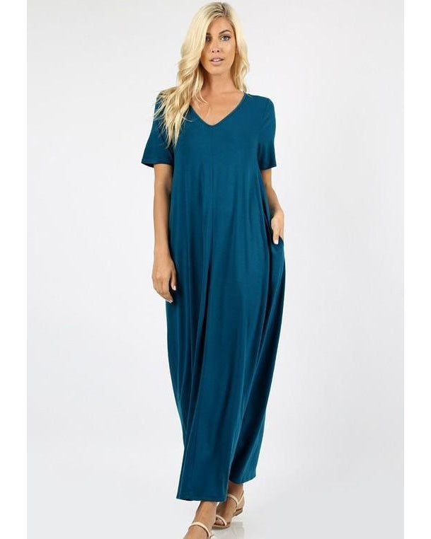 Keeping It Comfy Short Sleeve V-Neck Maxi T-Shirt Dress with Pockets in Teal - Essentially Elegant