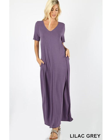 Keeping It Comfy Short Sleeve V-Neck Maxi T-Shirt Dress with Pockets in Lilac Grey - Essentially Elegant