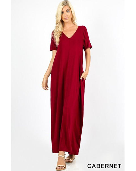Keeping It Comfy Short Sleeve V-Neck Maxi T-Shirt Dress with Pockets in Cabernet - Essentially Elegant