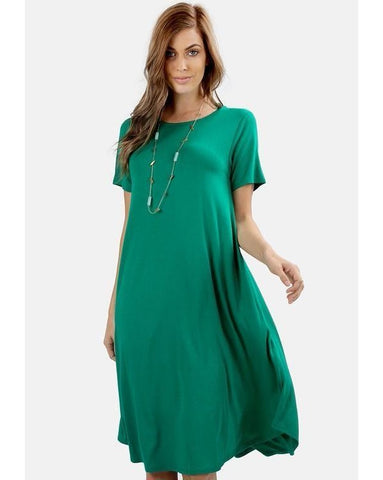 Keeping It Casual Short Sleeve Round Neck A-Line Midi T-Shirt Dress with Pockets in Kelly Green - Essentially Elegant