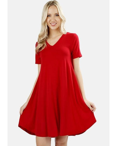 Keeping It Cozy Short Sleeve V-Neck T-Shirt Dress in Ruby Red - Essentially Elegant