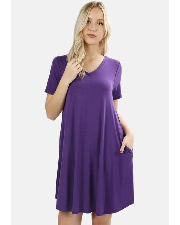 Keeping It Cozy Short Sleeve V-Neck T-Shirt Dress in Purple - Essentially Elegant