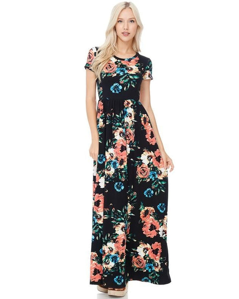 Dream A Dream Black Floral Print Maxi Dress with Short Sleeves and Pockets - Essentially Elegant