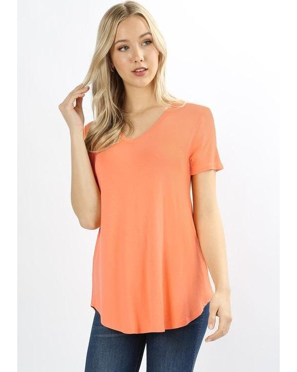 Keeping It Comfortable Short Sleeve V-Neck T-Shirt Top in Peach - Essentially Elegant