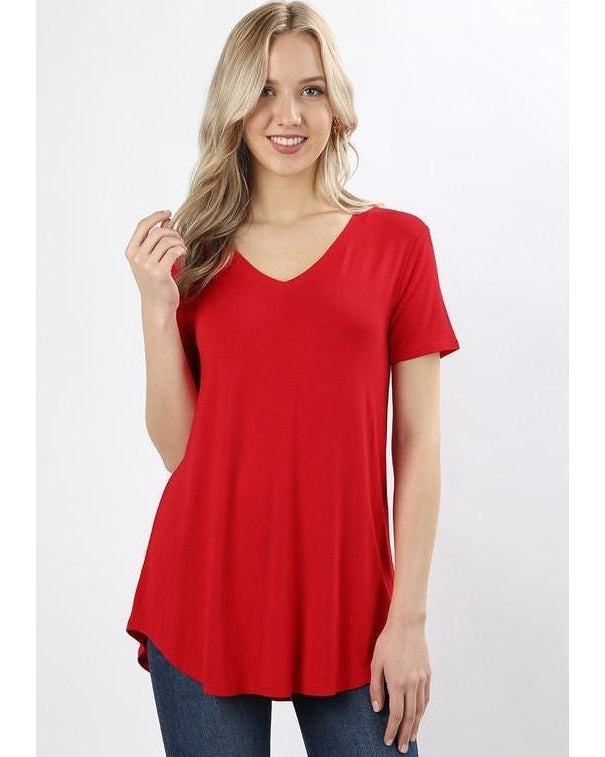 Keeping It Comfortable Short Sleeve V-Neck T-Shirt Top in Ruby Red - Essentially Elegant