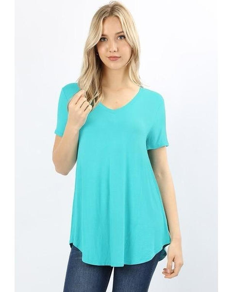 Keeping It Comfortable Short Sleeve V-Neck T-Shirt Top in Blue Mint - Essentially Elegant