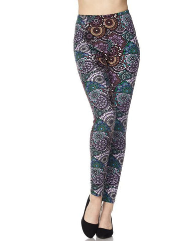 Purple and Turquoise Geometric Pattern Butter Soft Print Leggings - Essentially Elegant