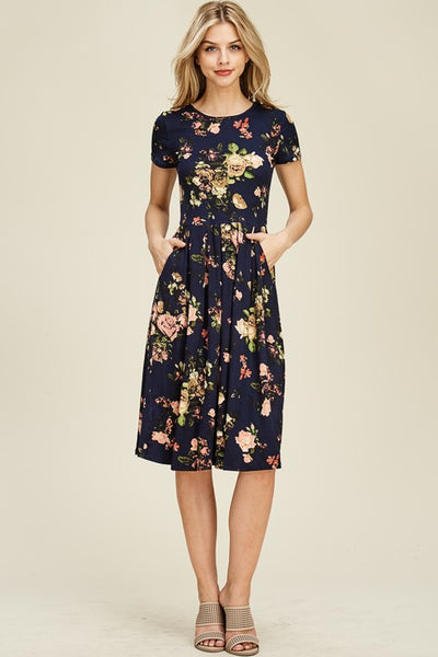 Out To Brunch Floral Print Midi Dress with Short Sleeves & Pockets in Navy - Essentially Elegant