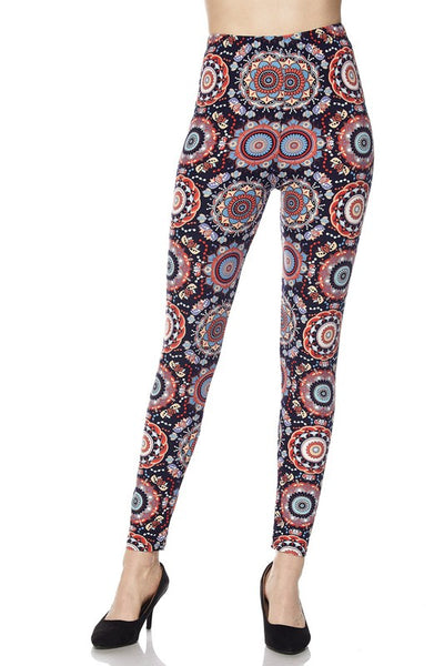 Navy and Red Geometric Pattern Butter Soft Print Leggings - Essentially Elegant