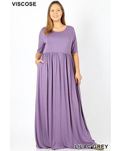 Keeping It Chic Half Sleeve Round Neck Maxi Dress with Pockets in Lilac Grey - Essentially Elegant