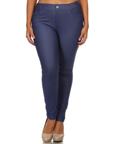 Yelete Super Stretchy Skinny Jeggings in Blue Denim - Essentially Elegant