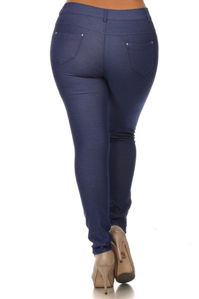 e14f086ccb285 ... Yelete Super Stretchy Skinny Jeggings in Blue Denim - Essentially  Elegant ...
