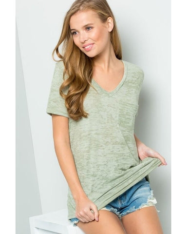 Sunny Days Heathered Knit V-Neck Pocket Top - Essentially Elegant