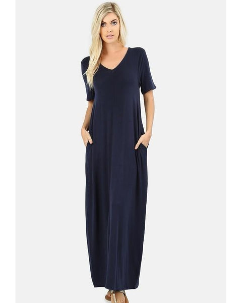Keeping It Comfy Short Sleeve V-Neck Maxi T-Shirt Dress with Pockets in Navy - Essentially Elegant