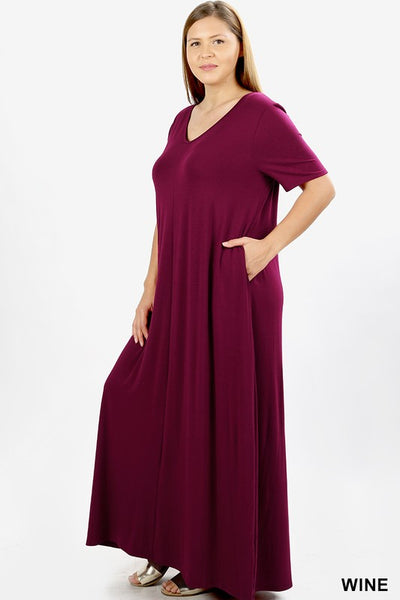 Keeping It Comfy Short Sleeve V-Neck Maxi T-Shirt Dress with Pockets in Wine - Essentially Elegant