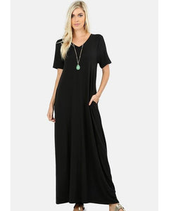 Keeping It Comfy Short Sleeve V-Neck Maxi T-Shirt Dress with Pockets in Black - Essentially Elegant