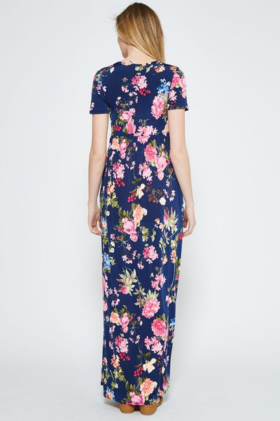 Making Memories Floral Print Maxi Dress with Pockets in Navy - Essentially Elegant