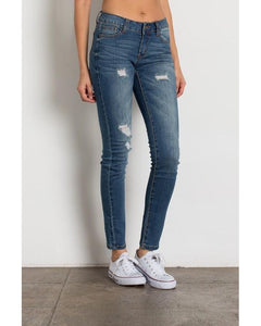 Rock & Royal Mid Rise Ripped Skinny Jeans - Medium Wash - Essentially Elegant