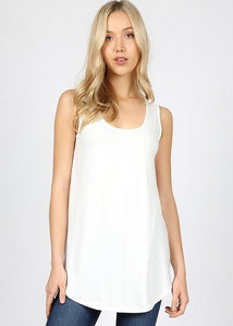 Keeping It Basic Sleeveless Tank Top with Round Hem in Ivory - Essentially Elegant