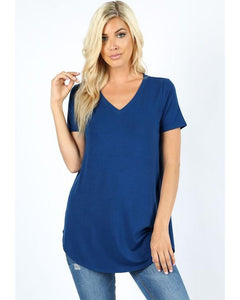 Keeping It Comfortable Relaxed Fit Short Sleeve V-Neck T-Shirt Top in Sapphire - Essentially Elegant