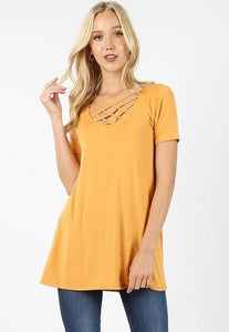 Keeping It Cheeky Short Sleeve Criss Cross Lattice Top in Ash Mustard - Essentially Elegant