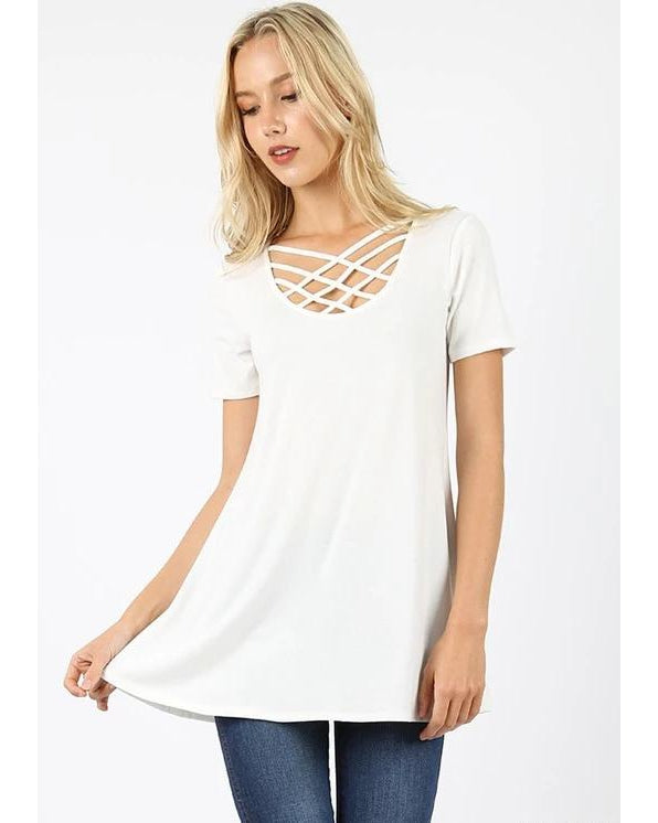 Keeping It Cheeky Short Sleeve Criss Cross Lattice Top in Ivory - Essentially Elegant