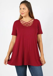 Keeping It Cheeky Short Sleeve Criss Cross Lattice Top in Cabernet Wine - Essentially Elegant
