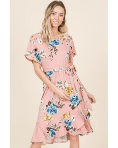 Lucy Tulip Ruffle Wrap Midi Dress in Blush - Essentially Elegant