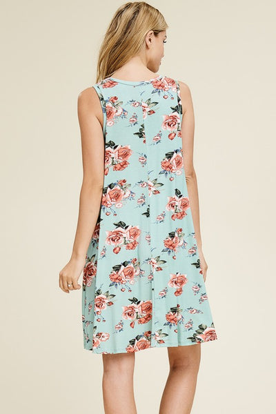 Escape With Me Floral Print Sleeveless Dress in Mint - Essentially Elegant