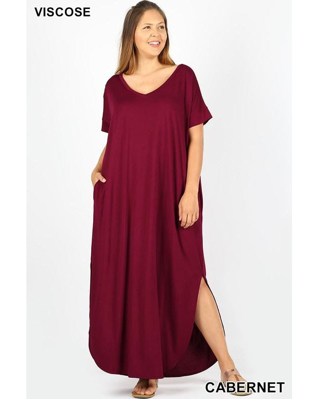 Keeping It Easy Side Slit V-Neck Maxi T-Shirt Dress with Round Hem & Pockets in Cabernet Wine - Essentially Elegant